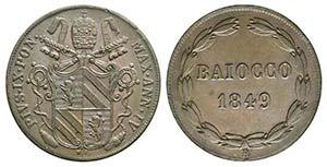 Papal States. Pio IX (1846-1878). Æ Baiocco ...