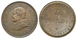 Papal States. Pio IX (1846-1878). Æ 4 Soldi ...