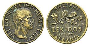 Albania, Vittorio Emanuele III. 0.05 Lek ...