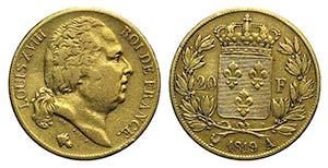 France, Louis XVIII (1815-1824). AV 20 ...