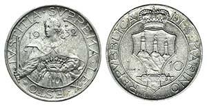 San Marino, 10 Lire 1932 (27mm, 10.03g, 6h). ...