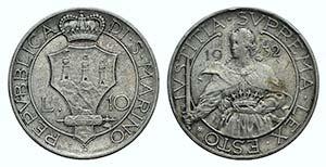 San Marino, 10 Lire 1932 (27mm, 10.02g, 6h). ...