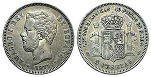 Spain, Amadeo I (1871-1873). AR 5 Pesetas ...