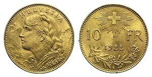 Switzerland. 10 Francs 1922 (18mm, 3.23g, ...
