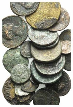 Lot of 24 mixed Æ and BI coins, including 3 ...