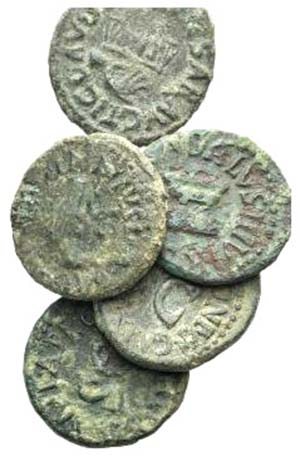 Lot of 5 Roman Imperial Æ Quadrantes, to be ...