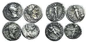 Lot of 4 Roman Imperial AR Denarii, ...