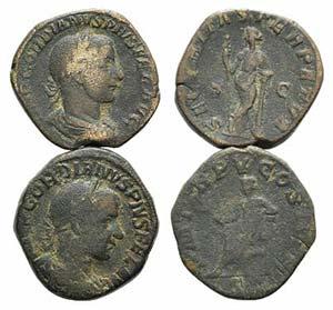 Gordian III, lot of 2 Æ Sestertii ...