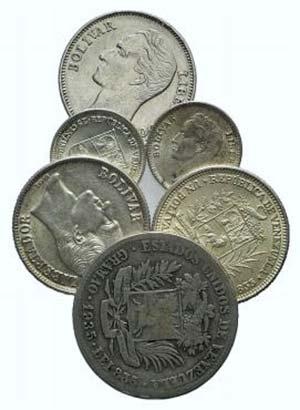 Venezuela, lot of 6 NI coins, to be catalog. ...