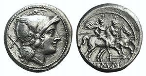 Anchor series, Rome, 209-208 BC. AR Denarius ...