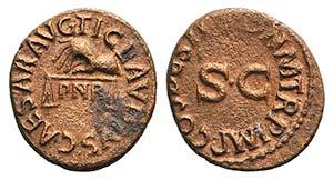 Claudius (41-54). Æ Quadrans (17mm, 2.57g, ...