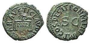 Claudius (41-54). Æ Quadrans (18mm, 3.34g, ...