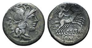 C. Titinius, Rome, 141 BC. AR Denarius ...