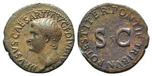 Drusus (Caesar, 19-23). Æ As (29mm, 11.10g, ...