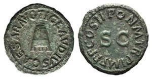 Claudius (41-54). Æ Quadrans (17mm, 3.00g, ...