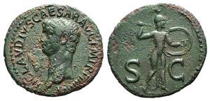 Claudius (41-54). Æ As (30mm, 10.15g, 6h). ...