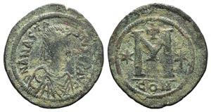 Anastasius I (491-518). Æ 40 Nummi (39mm, ...