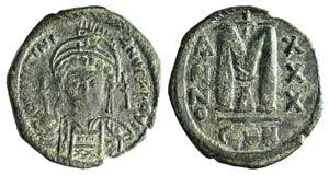Justinian I (527-565). Æ 40 Nummi (32mm, ...