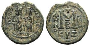 Justin II and Sophia (565-578). Æ 40 Nummi ...