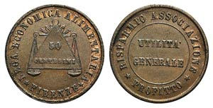 Italy, Firenze, late 19th century. Tessera ...