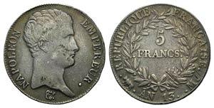 France, Empire. Napoleon I (1804-1814). AR 5 ...