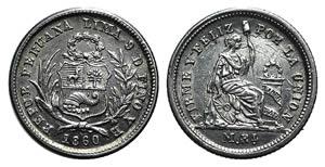 Peru, Republic. AR 1/2 Real 1860 YB (14mm, ...