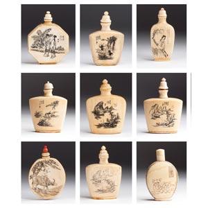 Gruppo di nove snuff bottles in avorio - ...