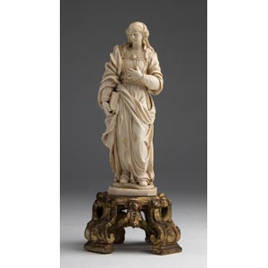 Saint Barbara. A carved ivory figure - ...