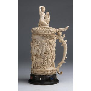 A carved ivory tankard depicting The rape ...