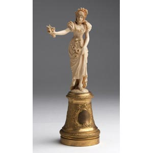 A carved ivory figure of a lady - France, ...