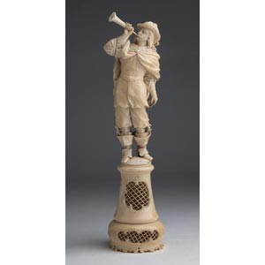A carved ivory figure of a bugler - France, ...