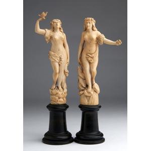 Coppia di scultura in avorio raffiguranti ...