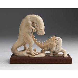 Gruppo scultoreo in avorio raffigurante due ...