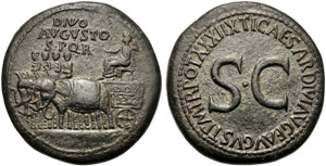 Divo Augusto (Tiberio, 14-37), Sesterzio, ...