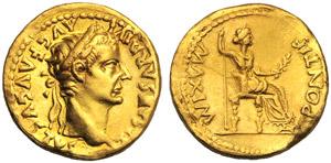 Tiberio (14-37), Aureo, Lugdunum, 14-37 ...