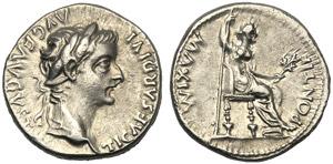 Tiberio (14-37), Denario, Lugdunum, 14-37 ...