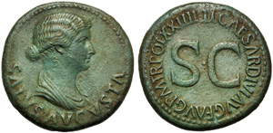 Livia (Tiberio, 14-37), Dupondio, Roma, ...