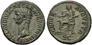 Claudio (41-54), Dupondio, Roma, 50-54 d.C.; ...