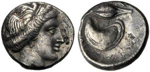 Campania, Didramma, Cuma, c. 420-385 a.C.; ...