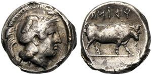 Campania, Didramma, Hyria, c. 405-385 a.C.; ...