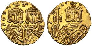 Costantino V con Leone IV (741-775), Solido, ...