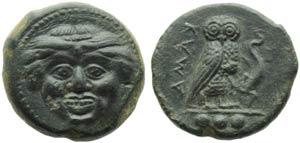 Sicily, Kamarina, Tetras, c. 420-405 BC; AE ...