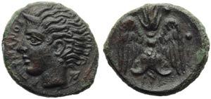 Sicily, Katane, Tetras, c. 405-402 BC; AE (g ...