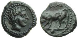 Sicily, Gela, Onkia, c. 420-405 BC; AE (g ...