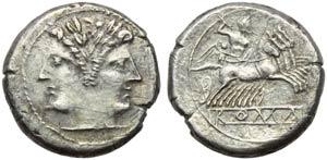 Anonymous, Plated Quadrigatus, Rome, 225-212 ...
