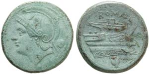 Anonymous, Uncia, Rome, 217-215 BC; AE (g ...