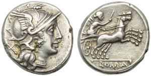 Anonymous, Denarius, Rome, 157-156 BC; AR (g ...