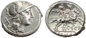 C. Scribonius, Denarius, Rome, 154 BC; AR (g ...