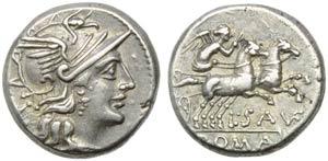 L. Saufeius, Denarius, Rome, 152 BC; AR (g ...