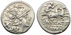 Pinarius Natta, Denarius, Rome, 149 BC; AR ...